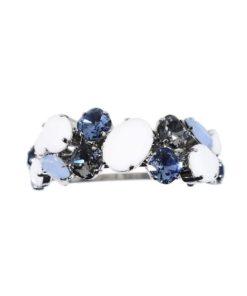 Zopfhalter mit Swarovskisteinen und matten Steinen gebogen bleu
