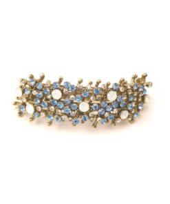 Patenthaarspange Gestell gold mit vielen Swarovskisteinen in unterschiedlicher Größe und Farbschattierungen bleu cristall