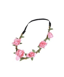 Haarband mit aufgesetzten rosefarbenen Rosen mit Gummiband