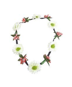 Haarband mit Blüten weis und rose mit Gummiband