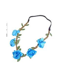 Haarband mit Gummizug mit Stoffblüten und Blättern türkis