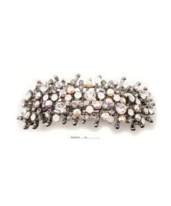 Patenthaarspange Gestell cristall mit vielen Swarovskisteinen in unterschiedlicher Größe und Farbschattierungen cristall