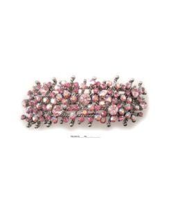 Patenthaarspange Gestell silber mit vielen Swarovskisteinen in unterschiedlicher Größe und Farbschattierungen rose