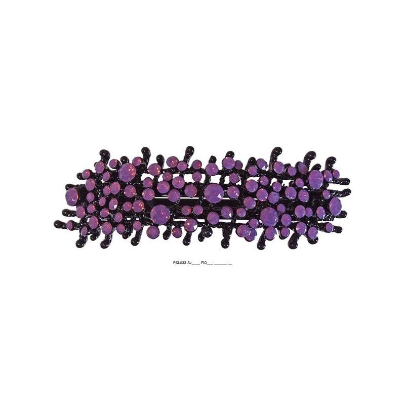 Patenthaarspange Gestell schwarzmit vielen Swarovskisteinen in unterschiedlicher Größe flieder