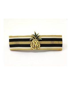 Haarspange mit Stoffbezug und kleiner Ananas aus Strasssteinen Gold schwarz weiss