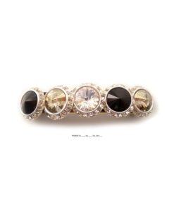 Haarspange mit fünf runden Perlen umrahmt von Swarovskisteinen in cristall schwarz beige silber