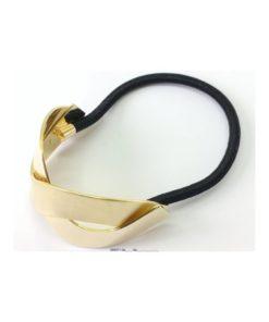 Zopfhalter schwarzes Gummi goldenes gebogenes übereinander kreuzendes Metallteil