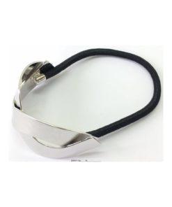 Zopfhalter schwarzes Gummi silber gebogenes übereinander kreuzendes Metallteil